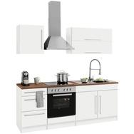 HELD MÖBEL Küchenzeile mit E-Geräten »Samos«, Breite 210 cm mit Stangengriffen aus Metall