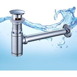 Ablaufgarnitur Set Siphon + Pop Up Ablaufventil mit Überlauf Waschbecken Ablauf Push-Up Abfluss Ventil für Waschbecken Waschtisch Chorm - AURALUM