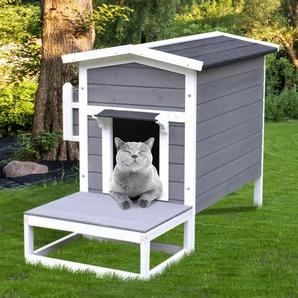 PawHut® Katzenhaus Katzenhütte Katzenhöhle Kleintierhaus mit Terrasse und Balkon Tannenholz 115 x 66,5 x 74,7 cm