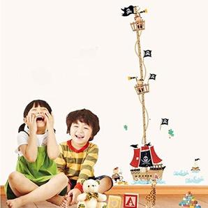 ufengke® Cartoon-Piraten-Schiff Messlatten Wandsticker, Kinderzimmer Babyzimmer Entfernbare Wandtattoos Wandbilder