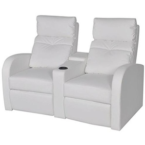 Festnight Kunstleder Heimkino Sessel 2-Sitzer Sofa Relaxsessel Fernsehsessel Liegesessel Weiß