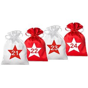 24 Adventskalender Säckchen 2farbig aus Satin (Farbe weiß/rot, Größe 10 x 15 cm) - Bedruckt mit 24 Stern-Zahlen - 2017 (für Erwachsene) für Weihnachtskalender/Adventskalender Zum Befüllen
