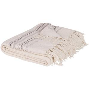 Blauer Decke aus Baumwolle mit Streifenmuster 160x210