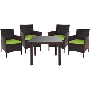 Poly-Rattan-Garnitur Hamar, Balkon-Set Gartenmöbel Sitzgarnitur ~ braun, Kissen grün - HHG