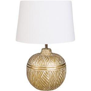 Kugelförmige Lampe aus goldfarbenem Metall mit weißem Lampenschirm