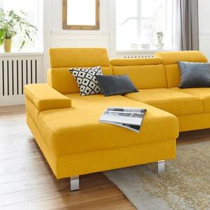 Trendmanufaktur Ecksofa, gelb, Recamiere links, B/H/T: 257x46x75cm, hoher Sitzkomfort