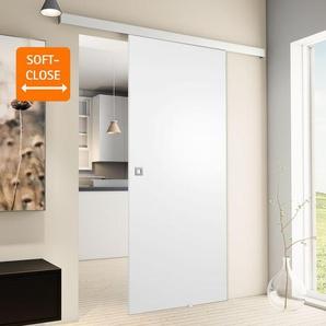 Tür Schiebetür Holz weiß 880x2035 Zimmertür Holztür Schiebetürsystem - Quadratgriff+Softclose - inova Star