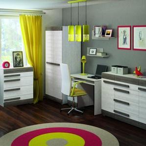 Büro Komplett - Set B Knoxville, 6-teilig, Farbe: Kiefer Weiß / Grau