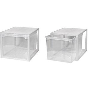 Kreher 2 Stück Schubladenboxen mit Nutzvolumen 50 Liter pro Box. Passend für z.B. Pullover, Shirts, Hosen, Papier, etc.Maße pro Box: 39,6 x 52 x 33,9 cm