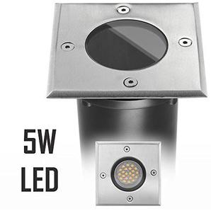 LED Bodeneinbaustrahler Set mit LED GU10 Markenstrahler von LEDANDO - 5W - 345lm - warmweiß - eckig - IP65 - Blende Edelstahl 316 - belastbar 1t - 50W Ersatz - 60° Abstrahlwinkel - A+ [Bodeneinbauleuchte Bodenleuchte Bodenlampe]