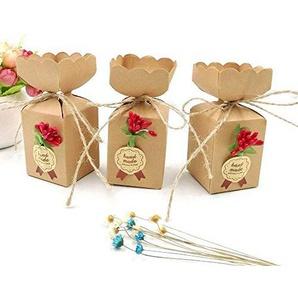 JZK 50 Kraftpapier Gasgeschenk Boxen + jute String + Blumen + Aufkleber, Süßigkeiten Schachtel für Hochzeit Geburtstag Weihnachten Babyparty Kinder Party Garen Party