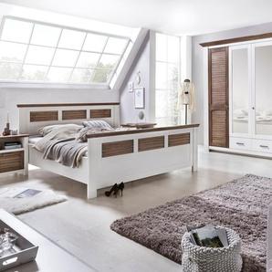 Schlafzimmerset LAGUNA 180x200 cm Farbe  Pinie Massivholz / Teilmassiv Breite Schrank 284 cm, Bettliegefläche 180x200 cm