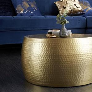 Handgearbeiteter Couchtisch ORIENT III 60cm gold Hammerschlag Design