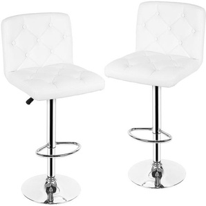 Weiß soft Höhenverstellbar Barhocker Barstuhl Knopf Tresenhocker mit Lehne Stuhl drehbar Chrom 2er Set - OOBEST