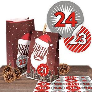 "24 stylische Adventskalender Papiertüten Ho Ho Ho mit 24 modernen Zahlenaufklebern ""Duo Rot"" zum selber Befüllen"