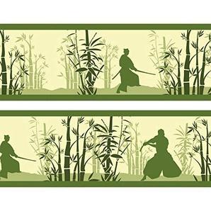Kleisterbordüre Bambushain mit Schwertkämpfern, 4-teilig 520x15cm, Tapetenbordüre, Wandbordüre, Borte, Wanddeko,Japan, Samurai