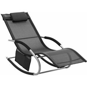 Sonnenliege, Schaukelstuhl mit Kopfkissen und Seitentasche, Eisengestell, atmungsaktives Textilene-Gewebe, komfortabel, bis 150kg belastbar, Schwarz GCB23BK - SONGMICS