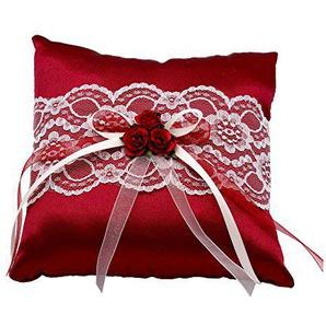 ZauberDeko Ringkissen Bordeaux Rot Creme Hochzeit Spitze Vintage Braut Traukissen Ringe