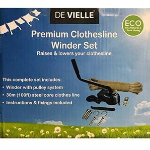 De Vielle komplett Cothes Line Winder Set, Metall, schwarz, 30m