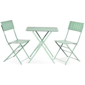 Gartenmöbel-Set aus Metall, 3-teilig, grün