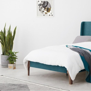 Roscoe Euro Double Bed, Steel Blue Velvet