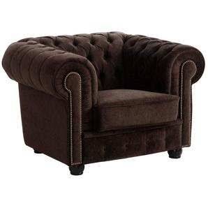 Max Winzer® Chesterfield-Sessel »Rover«, mit edler Knopfheftung, braun