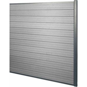 WPC-Sichtschutz Savoie, Windschutz Zaun, Alu Premium ~ Erweiterungselement, 1,85m grau - HHG