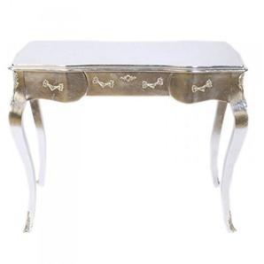 Casa Padrino Luxus Barock Schreibtisch/Konsole Silber inkl. Glasplatte 97 x 78 x 48 cm - Sekretär Luxus Möbel
