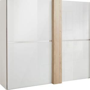 Schwebetürenschrank in Weißglas und mit Dekorfront, weiß, Breite 300 cm, »fontana«, FSC®-zertifiziert, set one by Musterring