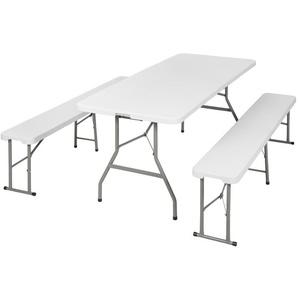 Camping Klapptisch und Bänke - Camping Tisch, Outdoor Tisch, Campingtisch klappbar - weiß - TECTAKE