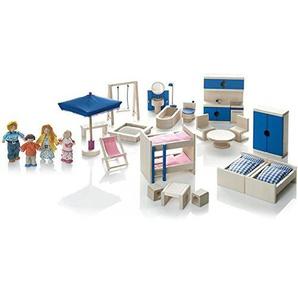 Wendelstein Werkstätten Puppenhaus-Möbel und Puppenfamilie Set