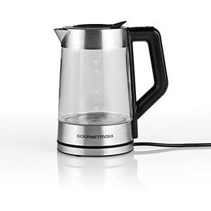 GOURMETmaxx Glas-Wasserkocher Smart | LED | Intelligente Öffnung zum Befüllen | 5 Wählbare Temperaturstufen | 1,7l 2200W in Edelstahl/Schwarz