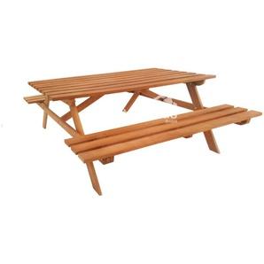 Hartholz Picknicktisch, Größe:L 250 x B 160 x H 75 cm - GartenTiger