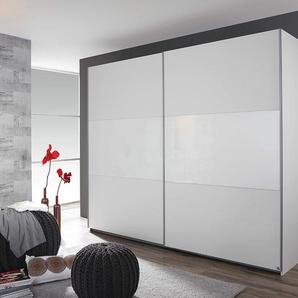 Schwebetürenschrank in alpinweiß/Absetzg weißes Glas, 2-türig, 2-fach unterteilt, 2 Böden, 2 Kleiderstangen, Maße: B/H/T ca. 218/210/59 cm