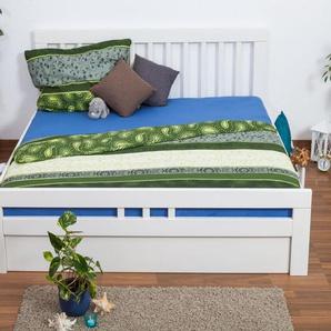 Doppelbett / Funktionsbett Easy Premium Line K8 inkl. 4 Schubladen und 2 Abdeckblenden, 180 x 200 cm Buche Vollholz massiv weiß lackiert
