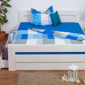 Doppelbett / Funktionsbett Easy Premium Line K6 inkl. 4 Schubladen und 2 Abdeckblenden 180 x 200 cm Buche Vollholz massiv weiß lackiert