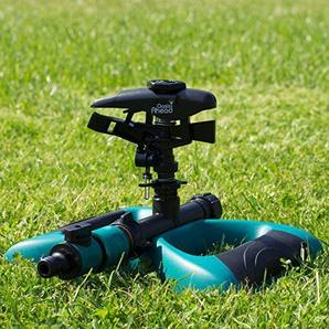 Oasis Ahead Rasensprenger K-200 mit großer Reichweite, pulsierender Kopf für bis zu 360 Grad bewässerung Ihres Gartens, mit Wasser-Absperrventil und metallbeschwerter Basis mit zusätzlichem Sprinklerkopf
