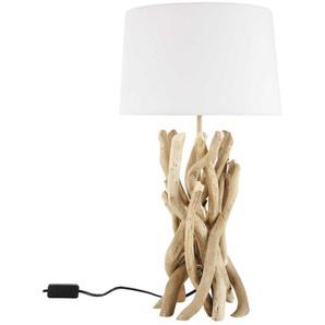 Lampe NIRVANA aus Treibholz mit Lampenschirm aus Baumwolle, H 55cm