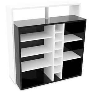 demeyere Pianoi Bar-Einheit-7 Nischen, Spanplatte, Weiß/Schwarz, 110.2 x 48.1 x 112.5 cm