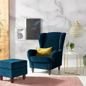 INOSIGN Sessel, mit Bezug, in Samtoptik, mit und ohne Hocker, blau, Samtvelours