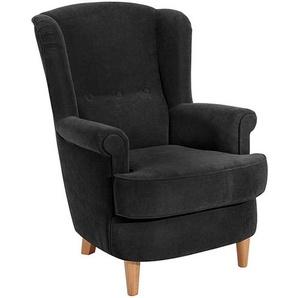 Ohrenbackensessel KENDRA-23 Velourstoff Farbe schwarz Sitzhärte weich B: 73cm T: 89cm H: 92cm