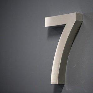 Lüllmann Hausnummer Premium Edelstahl in 3D Design Arial ALLE Zahlen H20cmxT3cm V2A TOP (Arial 20cmx3cm Nr.7)