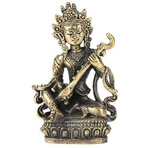 Akozon Messing kleine Buddha Statue handgemachte geschnitzte Figur Einrichtungsartikel Buddismus Geschnitzte Figur Handwerk Haushalts Dekoration Figur Home Desktop Büro Dekor(#9 Sarasvati)