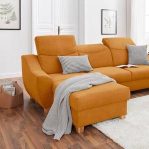 DOMO collection Ecksofa, mit Rückenfunktion, wahlweise mit Bettfunktion und Bettkasten, orange, Luxus-Microfaser