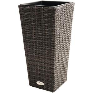 PLOß Rocking Pflanzgefäß, grau/braun-meliert, Polyrattan, konisch, 28x28x60 cm, Kunststoffeinsatz