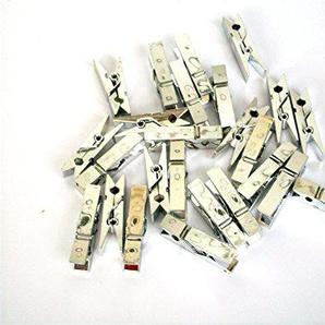 ERRO 25er Set Wäscheklammern Silber glänzend Zum Basteln und Werkeln - Bastelbedarf, Bastelzubehör, Do it Yourself, Bastelsachen für die Kinderbetreuung, Kunstunterricht