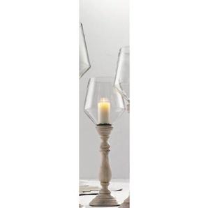 casaNOVA Kerzenhalter /Windlicht H 79 WOODEN GLASS Weiß gewischt/Klar