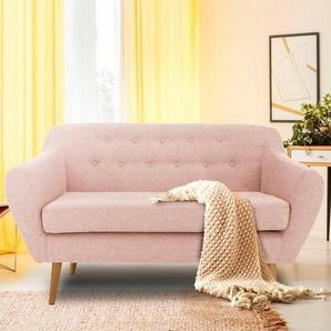 andas 2-Sitzer »Renne«, mit Heftung im Rücken im skandinavischem Stil, rosa, Struktur fein