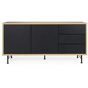 TENZO Flow Sideboard, schwarz/Eiche, 164 x 44 x 79 cm