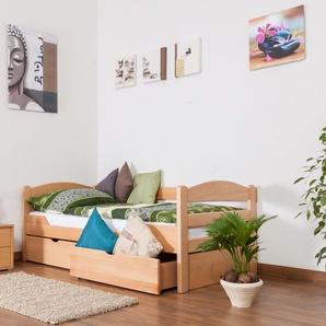 Einzelbett / Funktionsbett Easy Premium Line K1/n/s inkl 2 Schubladen und 2 Abdeckblenden, 90 x 200 cm Buche Vollholz massiv Natur